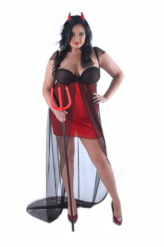 202923b914 Czerwona koszulka erotyczna dla puszystej Andalea Suprise Strój na  walentynki duże rozmiary Andalea Diablica